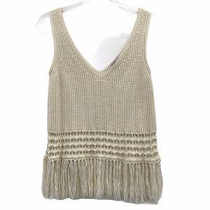 Rebecca Minkoff Large Knit Tank Fringe V Neck Top